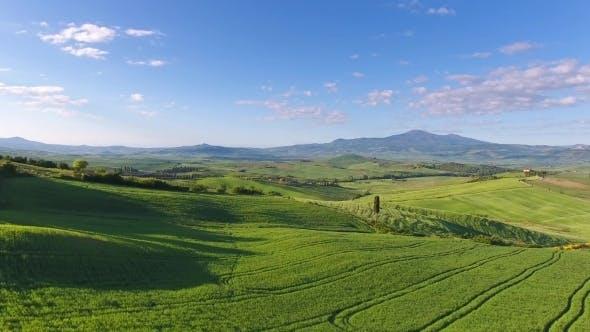 Thumbnail for Tuscany Aerial Landscape of Farmland Hill, Italy