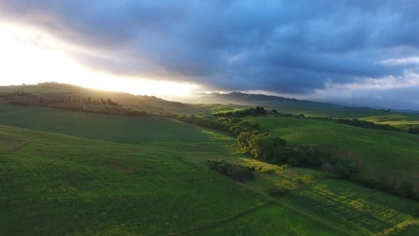 Thumbnail for Tuscany Aerial Sunrise Farmland Hill Country