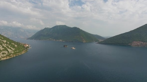 Aerial of Kotor Bay and Mountains in Montenegro