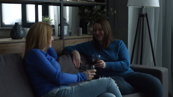Thumbnail for Cheerful Female Friends Toasting Wine Glasses on Sofa