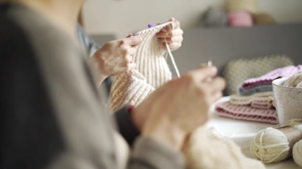 Thumbnail for Knitting Woman Hand Making Woolen Fabric. Female Knitting Hands