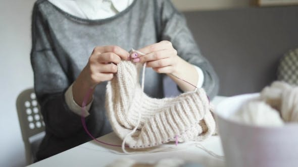 Thumbnail for of Female Hands Knitting Needles Wool Clothes. Woman Hobby
