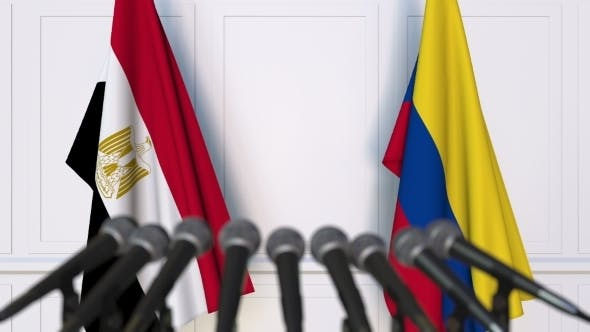Thumbnail for Flags of Egypt and Colombia at International Press Conference