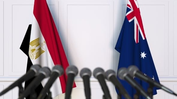 Thumbnail for Flags of Egypt and Australia at International Press Conference