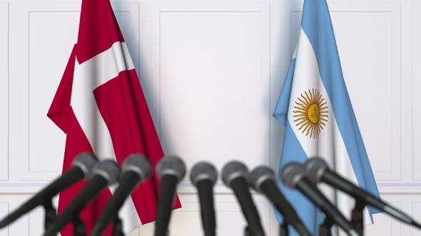Thumbnail for Flags of Denmark and Argentina at International Press Conference