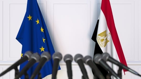 Thumbnail for Flags of the European Union and Egypt at International Press Conference