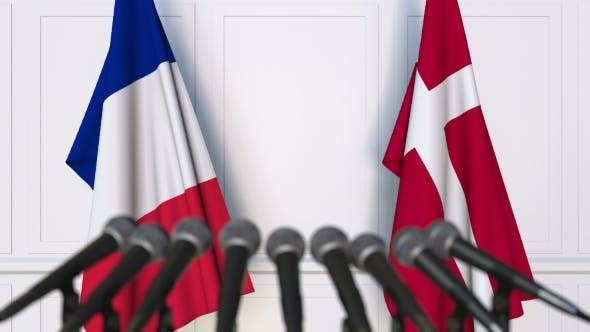 Thumbnail for Flags of France and Denmark at International Press Conference