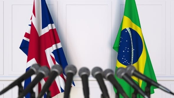 Thumbnail for Flags of the United Kingdom and Brazil at International Press Conference