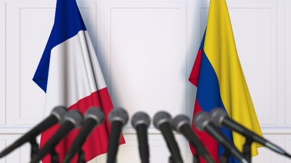 Thumbnail for Flags of France and Colombia at International Press Conference