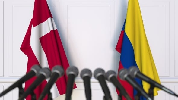 Thumbnail for Flags of Denmark and Colombia at International Press Conference
