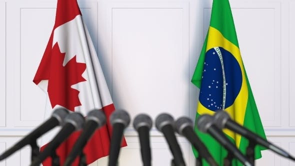 Thumbnail for Flags of Canada and Brazil at International Press Conference