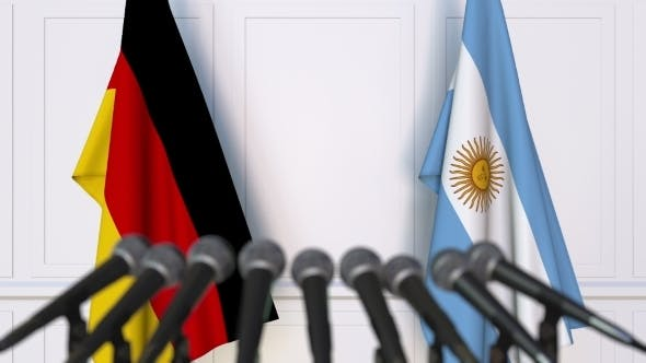 Thumbnail for Flags of Germany and Argentina at International Press Conference