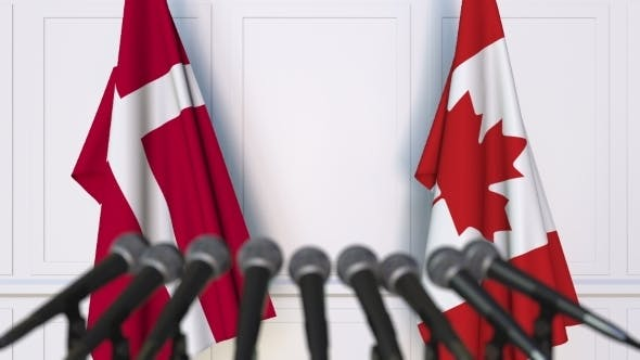 Thumbnail for Flags of Denmark and Canada at International Press Conference
