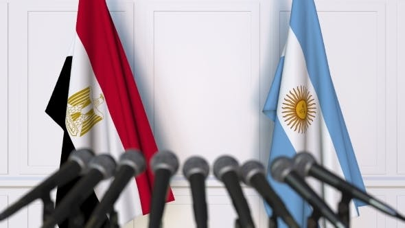 Thumbnail for Flags of Egypt and Argentina at International Press Conference