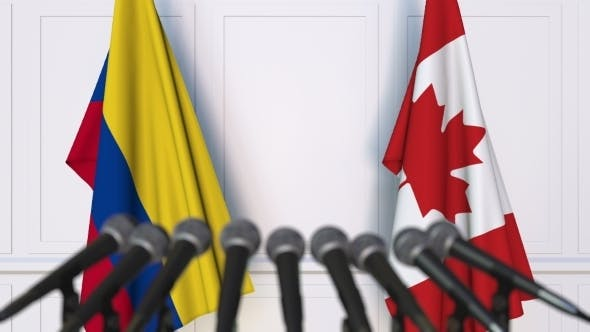 Thumbnail for Flags of Colombia and Canada at International Press Conference