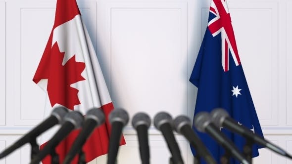 Thumbnail for Flags of Canada and Australia at International Press Conference
