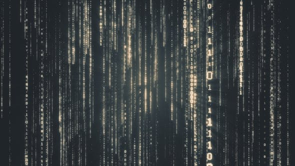 Thumbnail for Falling Binary Code in the Matrix Style in the Technological Space in Dark Background