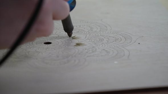 Cover Image for Burning Pyrograph on Wood Floral Pattern