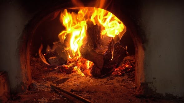 Thumbnail for Firewood and Fire Flames in Fireplace. Bonfire and Coals