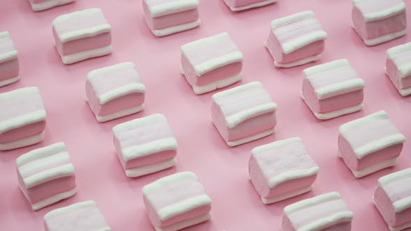 Thumbnail for Bright and Colorful Marshmallows   Shot on a Pink Background