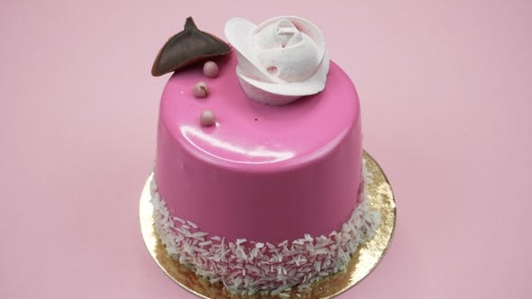 Thumbnail for Bright and Colorful Cake  on a Pink Background