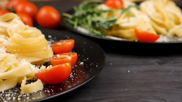 Thumbnail for Parmesan Cheese Falling on Italian Pasta