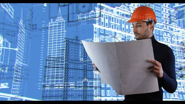 A Man in Safe Helmet Read Blueprints in the Spinnig Building Schemes Background