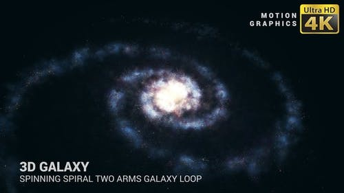 3D Galaxy | Spinning Spiral Two Arms Galaxy Loop