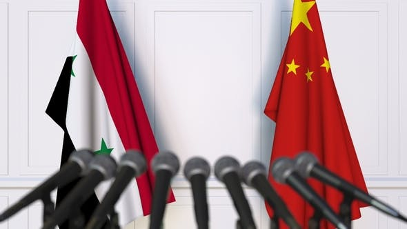 Thumbnail for Flags of Syria and China at International Press Conference