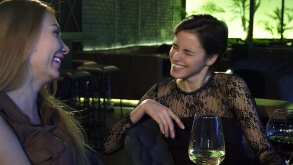 Thumbnail for Two Beautiful Cheerful Girls Laughing Talking at the Bar Over Drinks