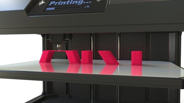 Thumbnail for Modern 3D Printer in Action Printing Red ART Word