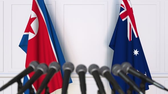 Thumbnail for Flags of North Korea and Australia at International Press Conference