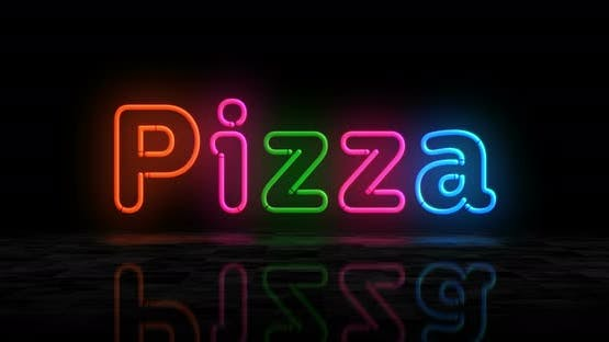 Pizza symbol glowing neon 3d lights