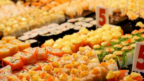 Thumbnail for Asian Sushi on the Counter in the Night Food Market of Jomtien