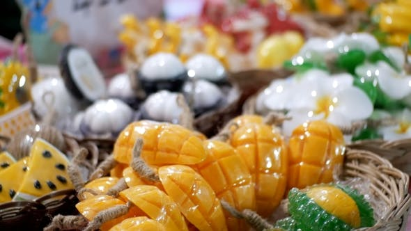 Thumbnail for Colorful Thai Handmade Soap in the Form of Exotic Fruit on the Counter Night Market. Thailand