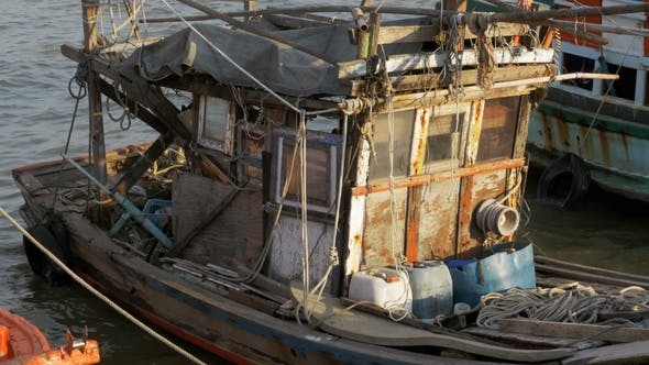 Thumbnail for Old Wooden Fishing Boats at the Pier Thailand Asia Pattaya