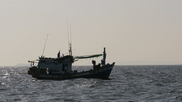 Thumbnail for Silhouette of a Fishing Boat in the Sea Thailand Asia Pattaya