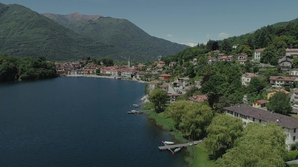 Thumbnail for Bicycle Sumer Italy Italian Riviera Houses Drone Flight Near the Mountains, Italy Lake, Drone  Natur