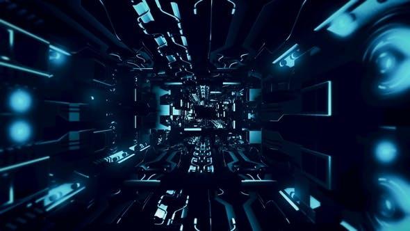 Fly Inside of Futuristic Metallic Corridor