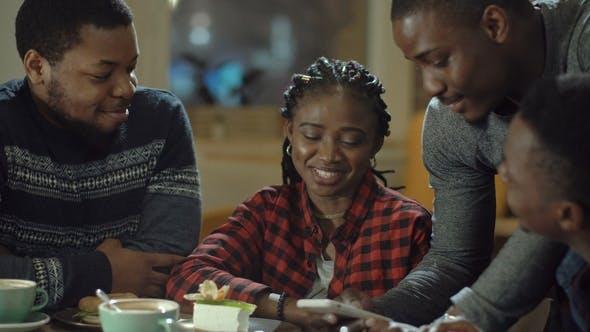 Black People Having Fun in Cafeteria