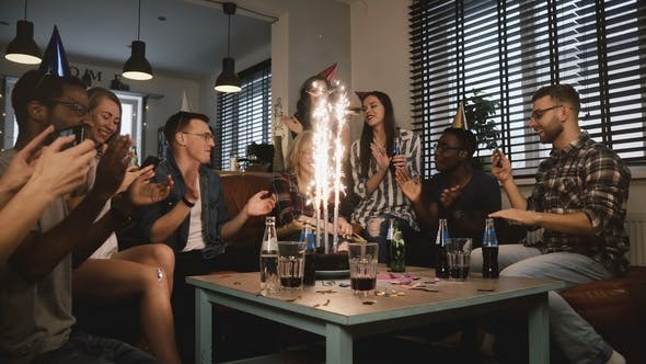 Happy Multi Ethnic Friends Birthday Party