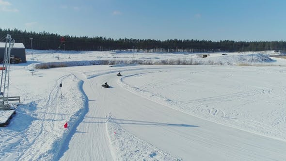 Cover Image for Winter Cart Track Kartin Drone Flight Snow Race  Carting