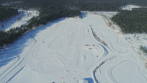 Thumbnail for Winter Cart Track Kartin Drone Flight Snow Race  Carting