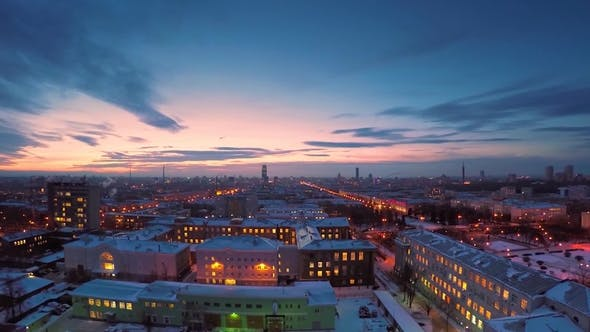 Thumbnail for Evening City in Winter Evening City in Winter View From Roof Panoramic View on the Town and