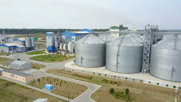 Thumbnail for Aerial View of Metal Grain Elevator in Agricultural Zone. Grain Warehouse