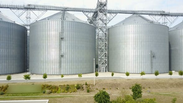 Thumbnail for Aerial View. Plant for Storage and Processing of Grain. Metal Grain Elevator