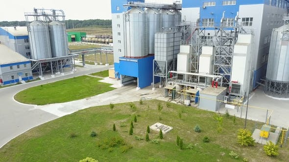 Thumbnail for Grain Elevator for Storage of Agricultural Crops. Aerial View.