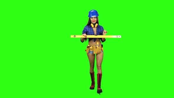 Thumbnail for Girl in the Boots and the Helmet Comes with a Level in Hand