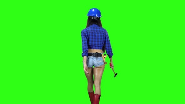 Thumbnail for Girl in Hat and Shorts with a Hammer on the Belt Going