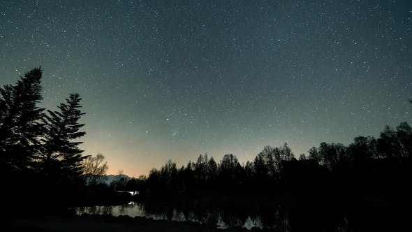 Thumbnail for Milky Way  Over Northern Lake in Forest , Reflections in the Water of the Stars.